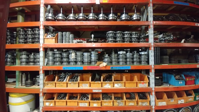 Various Transmission Parts on Shelves and in Drawers